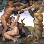"""""""Il peccato Orginale"""" raffigurato nella Cappella Sistina da Michelangelo"""