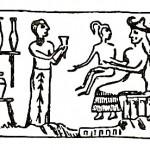 """Il sigillo  sumero che raffigura la """"creazione"""" dell'uomo dentro un laboratorio"""