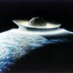 La raffigurazione di un'ipotetico impatto di un asteroide sulla Terra
