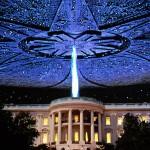 Un fotomontaggio: un'astronave sulla Casa Bianca...