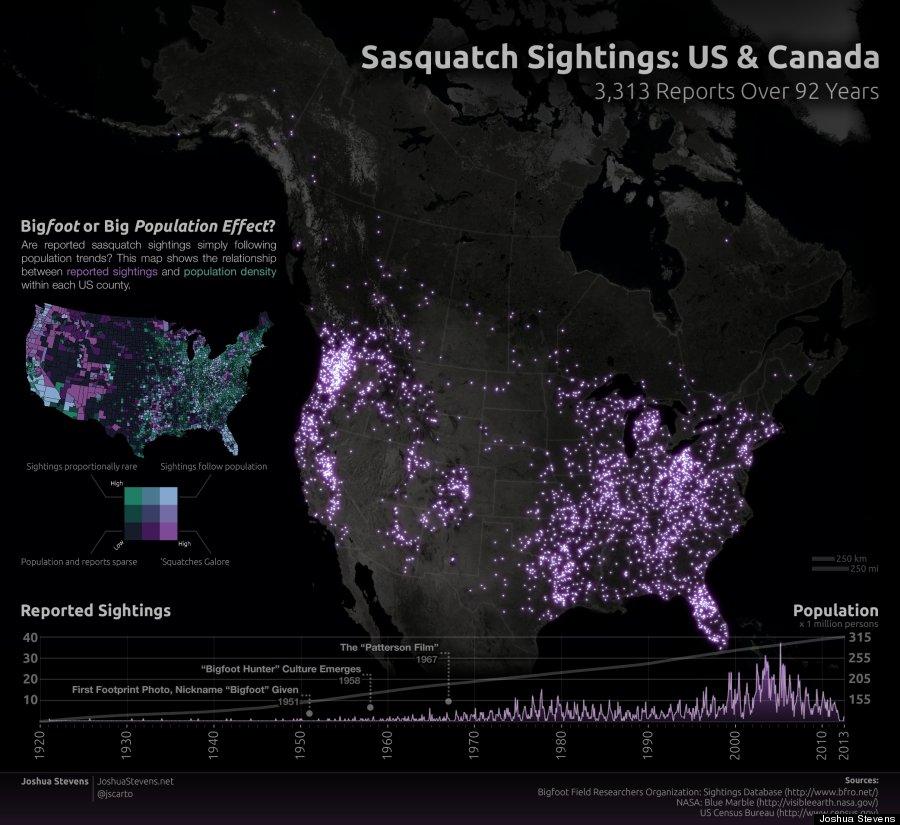 LA MAPPA DEGLI AVVISTAMENTI DEL BIGFOOT NEGLI USA