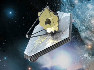 UNA RAPPRESENTAZIONE ARTISTICA DEL JAMES WEBB SPACE TELESCOPE