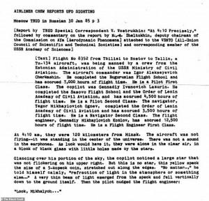 L'INIZIO DEL RAPPORTO SULL'AVVISTAMENTO RUSSO DEL 1985